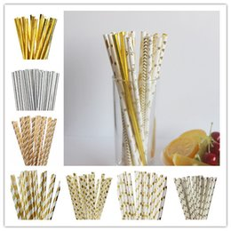 Wholesale chocolate foil paper - Top Quality Foil Gold  Silver Design Paper Straws Drinking Straws for birthday wedding decorative party event supplies free shipping 500pcs