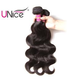 Wholesale Human Hair Weave Malaysia - UNice Hair Peruvian Brazilian Malaysia Body Wave 3 Bundles Virgin Hair Weaving 8-30inch Human Hair Extension Unprocessed Wholesale Weaves