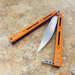 """Wholesale Blue Knives - Theone Butterfly Knife Orange G10 anodized Blue tianium liner (4.6"""" Stonewash)Bushing system Crown Spine D2 blade"""