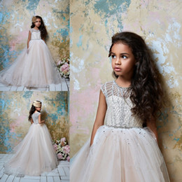 pentelei dresses Promo Codes - Pentelei 2019 Cute Flower Girl Dresses Ball Gown Rhinestone Beads Tulle Floor Length Jewel Sleeveless Little Girl Christmas Pageant Dress