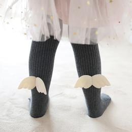 Calzini di fiori bambina online-Autunno Inverno Nuova neonata Legging Bambini Pant Baby Girl Cotton Calze Angel Wings Flower Bambini Danza Collant Calze