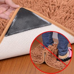 Wholesale wholesale washable rugs - Ruggies Rug Carpet Mat Grippers Non Slip Grip Corners Pad 15*7.5cm Anti Skid Reusable Washable Silicone Tidy 4pcs Set 300Sets OOA5134