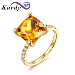diamantes de sudáfrica Rebajas Forme el anillo citrino brasileño de piedras preciosas naturales de 3.85ct en oro amarillo de 14K con 0.15ct Juego de anillos de boda con diamante de Sudáfrica