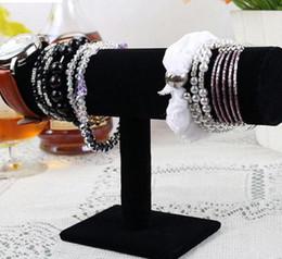 Présentoirs de bijoux de velours en Ligne-Nouveau Rose / Rouge / Noir Velours Bracelet Chaîne Montre Rack Bijoux Dur Support D'affichage Titulaire Bijoux Organisateur Dur Présentoir