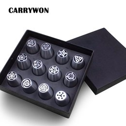 Wholesale Stainless Steel Icing Piping Tips - CARRYWON 12PCS set Big Size Russian Tulip Stainless Steel Icing Piping Nozzles Tip Russia Nozzl Pastry Tools Dessert Decorators