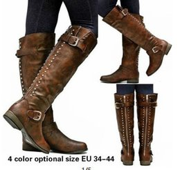 a663ff6a711d brown riding boots Canada - XingDeng Ladies Flat Long Spring Autumn Riding  Boots Shoes Pu Leather