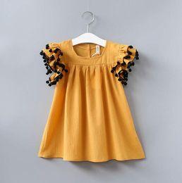 amarillo vestidos blusas Rebajas Summer Girls Tops Blusa niños Ruffles manga corta Top Mini vestido niños niña Blusas Amarillo 13408