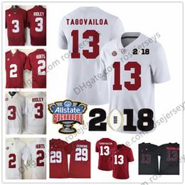 Wholesale Manning Bowl - Alabama Crimson Tide #13 Tua Tagovailoa 2018 NCAA Championship White Jersey Red Black 2 Jalen Hurts 3 Ridley 29 Fitzpatrick Sugar Bowl Patch