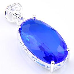 Wholesale Topaz Pendants Wholesale - 5 Pieces 1 lot Luckyshine Best Wholesale Oval Fire Blue Topaz Crystal 925 Sterling Silver Russia USA Australia Pendants for necklace