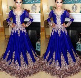 Royal blue kaftan abayas online-Royal Blue Abaya in Dubai Kaftan muslimische Abendkleid islamische Abaya Spitze Stickerei langen Ärmeln arabischen Prom Abendkleider marokkanischen Kaftan