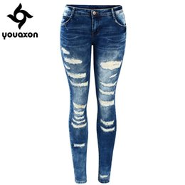 2019 estilo de lavado de jeans 2045 Youaxon Celebrity Style Fashion Blue Low Rise Skinny Distressed Washed Stretch Denim Jeans para mujeres pantalones rasgados rebajas estilo de lavado de jeans