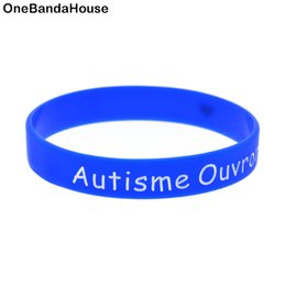 Wholesale Promotional Logo Gifts - Wholesale 100PCS Lot Autisme Ouvrons Notre Love Silicone Wristband Ink Filled Colour Logo Bangle Promotional Gift