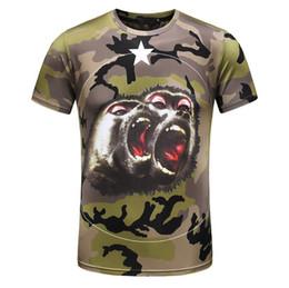 Wholesale Mens Camouflage Shirt Xl - Orangutan Camouflage t shirt men Luxury tide Brand designer orangutan star unisex tee chimps funny military mens t shirt D30