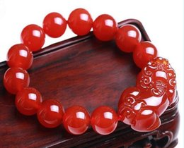2020 piedras preciosas de feng shui Pulsera de piedra preciosa de ágata roja natural Pi de 12 mm Pi Pulsera de Xiu Feng Shui de Yao / Pi para riqueza piedras preciosas de feng shui baratos