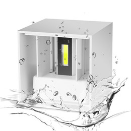 Wholesale Cube Art - Wholesale-AC 220V Waterproof 7W Aluminum Cube COB LED Wall Lamp Light Modern Home Lighting Indoor Outdoor Decoration