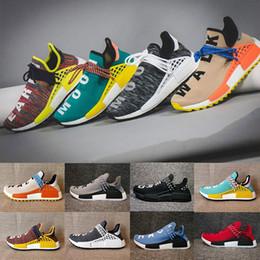 Wholesale Runners Lights - 2018 nmd Human Race trail Running Shoes Men Women Pharrell Williams HU Runner Yellow Nerd core Black White Red sports shoe sneaker