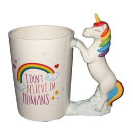 Copo de café dos desenhos animados 3d caneca on-line-Xícara De Café De cerâmica Com Alça Bonito Unicórnio Caneca Dos Desenhos Animados 3D Forma Animal Tumbler Presente Criativo Venda Quente 17kq C