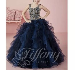 Wholesale Kids Royal Ball Party Dress - Straps Ruffles Beads Crystal Flower Girl Dress Sequins Little Girls Pageant Dresses Ball Gown Organza Girls Formal Tutu Party Dress for Kids