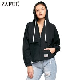 Wholesale Half Zip Hoodies - ZAFUL Harajuku Hoodies Women Spring Autumn Long Sleeve Cotton Casual Hooded Pullover Half Zip Patched Pocket Loose Sweatshirts