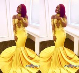 Fotos de vestidos nigerianos africanos online-Imágenes reales Vestidos de fiesta de sirena de encaje nigeriano africano amarillo Largos apliques Longitud del piso Vestidos de noche Vestidos del desfile de celebridades