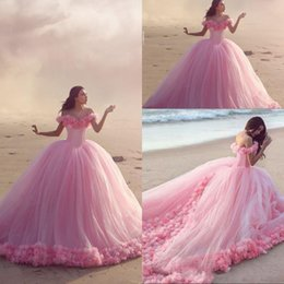 Wholesale Olive Flowers - 2018 Pink Quinceanera Dresses Ball Gowns Off Shoulder Sweep Train Prom Dresses With Hand Made Flower Tulle Lace Up back Party Gowns