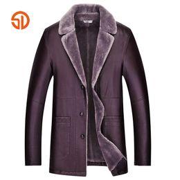 Wholesale Wine Leather Jacket - Long Men's PU Leather Jackets Winter Plus Size XXXXL Business Casual Faux Leather Jacket Fleece Coats Black Wine Red Yellow
