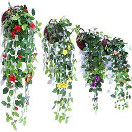 Colgante de pared artificial cesta flores online-Simulación Artificial Colgar Cestas Flor Falsa Rose Vines Wedding Wall Hanging Salón Balcón Decoración Del Hogar Colorido 10 35 mh ff