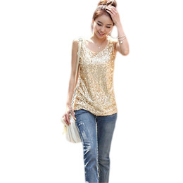 Wholesale Black Sequin Tank Top - Women's Fashion Round Neck Bling Sequin Tank Top Slim Fit Sleeveless Summer Vest