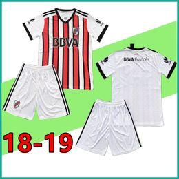Wholesale Uniforms Dhl - 10 sets free DHL 2018 2019 Riverbed Soccer jersey kit 18 19 River Plate jerseys Home men Football shirt uniform Custom Set