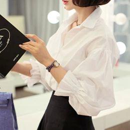 Wholesale Peter Pan Blouses - Women Blouse White Shirt Female 2017 Autumn New Fashion Casual Elegant Basic Puff Sleeve Peter Pan Collar Tops Shirts Blouses