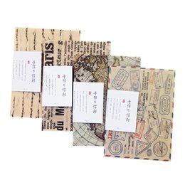 Wholesale Ink Seals - 3 Pcs pack Retro Colorful Ink Painting Translucent Envelope Message Card Letter With Seal Sticker Paper Gift Christmas Envelops