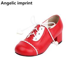 Zapatos de vestir princesa online-venta al por mayor moda mujer mori chica lolita cosplay zapatos dama mediados tacones bombas mujeres princesa vestido de fiesta zapatos con cordones hasta 33-47