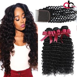 Wholesale Brazilian Deep Wave With Closure Mink Brazilian Hair Bundles With 4x4 Lace Closure Brazilian Deep Wave Closure With Hair Bundles Coupon
