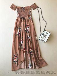 5438c52ac0e Été manches courtes nouveau design mode européenne femmes cou épaule hors  épaule imprimer des fleurs taille haute en mousseline de soie vent maxi robe  ...
