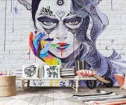 Wholesale Sexy Smoke - Graffiti Sexy Beauty Brick Wall Wallpaper Papel De Parede 3D Custom Wall Painting Living Room Bedroom Art Mural Wall Paper Decor