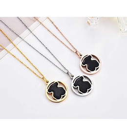 Wholesale stone silver pendant designs - 2018 New Fashion Round Stainless Steel Bear Necklace Classic Natural Stone Necklace Jewelry Handmade Original Design Popular Gift