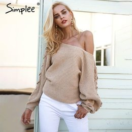 c3d6aa126d78d Simplee Sexy lace up winter knitted sweater pullover Women one shoulder  loose sweater jumper Autumn batwing sleeve gray sweater one shoulder  sweaters women ...