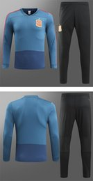 Wholesale Rip Sweater - 2018 Spain blue soccer tracksuit thai quality football suits long sleeve outdoor training set winter sport sweater and long pants soccer kit
