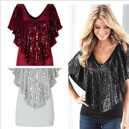 Wholesale Womens Batwing Tops - 2018 Summer Womens t shirts Tops Tees Spring stretch cotton stitching sexy V Neck sequined shirt sleeve T-shirt