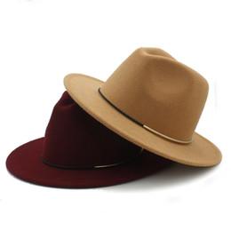Bordo del cappello di lana online-Cappello in Fedora Outback da Donna in Lana Fashion per Autunno Inverno Elegante Cappellino Jazz Floppy Cloche Ampio Flan Cloche Taglia 56-58CM K40 D18103006