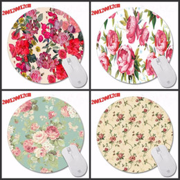 Wholesale Padded Laptop Desk - Red flowers Special Offer Pop Pattern Printing Mousepad Computer Laptop Mouse Pad Round Rubber Anti-slip Gaming Desk Mice Mat