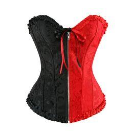 Wholesale lace front corset - Sexy Zip Front Overbust Corset Lace Up Boned Shapewear Bustier Jacquard Floral Push Up Clubwear Women Corset Tops Plus Size S-6XL