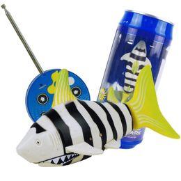 Wholesale Radio Fishing - Wholesale- 3CH 4 Way RC Shark Fish Coke Can Radio Control RC Mini Electronic Shark Fish Boat Kids Toy Gift