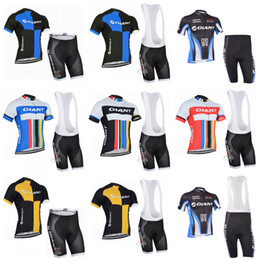 Wholesale giant bike jersey set - GIANT 2018 Summer Cycling Jersey Set Breathable Team Racing Sport Bicycle Jersey Men Cycling Clothing Short sleeve MTB Bike sportswear C2807