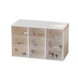 caixa de artesanato de gaveta Desconto Mini Jóias Organizador de Exibição Gaveta com 9 Gavetas Artesanato Brincos Anéis Caixa De Armazenamento Pinos de Cabelo Clipes Recipiente Maquiagem Caso