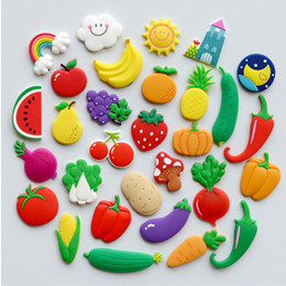 2019 frutta verdura cartone animato Frutta Verdura Fridge Magnet 3D Cartoon Frigorifero Magneti Adesivo Ufficio consiglio spalla Sticker Artigianato Home Decor HH7-1366 frutta verdura cartone animato economici