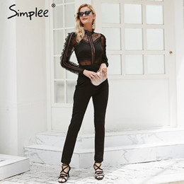 6bd605447e Simplee Sexy o neck lace women jumpsuit romper Mesh hollow out backless  summer overalls Long sleeve high waist black playsuit