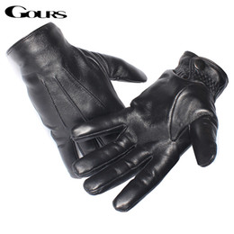 Wholesale Leather Gauntlet Gloves - Wholesale-Gours Men's Genuine Leather Gloves Real Sheepskin Black Touch Screen Gloves Button Fashion Brand Winter Warm Mittens New GSM050