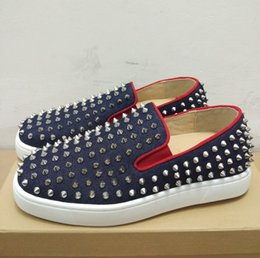 Wholesale Plastic Boats - Red bottom Slip-on Flat shoes men women pik boat fashion shoes roller boat casual shoes shiny sole spike sneakers unisex canvas dress flats
