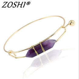 2019 armband lila gold Mode Gold Plate Lila Rosa Blau Geometrische Naturstein Manschette Punk Armband Armreif Faux Marmor Stein pulseras aus Indien günstig armband lila gold